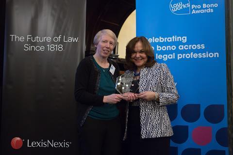 The LawWorks Cymru Award  Claire Ingrams (Citizens Advice Rhondda Cynon Taff) and Hilarie Bass (President, American Bar Association)